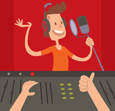Sound Record Studio producer working together at mixing panel in the boutique vector illustration. Record Studio mixing control and Record Studio panel concept royalty free illustration