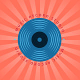 Sound record studio, vinyl music shop, club vector logo with vinyl record vector illustration