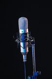 Sound recording. Studio microphone for sound recording on black background Stock Images