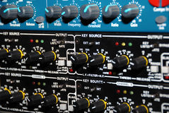 Sound Recording Equipment (Media Equipment). Audio effects processors in a rack. Sound Recording Equipment (Media Equipment). Recording studio Royalty Free Stock Photography
