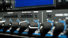 Sound Recording Equipment (Media Equipment). Audio effects processors in a rack. Sound Recording Equipment (Media Equipment). Recording studio Stock Image