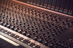 Sound recording equipment. Music mixer controls Stock Photography