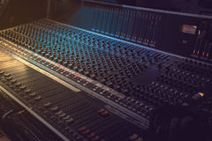 Sound recording equipment. Music mixer controls Royalty Free Stock Photos