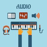 Sound recording flat concept Stock Photos