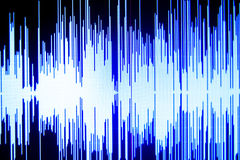 Sound recording studio audio. Wave on computer screen in professional editing program for voice, vocal, dj deejay musical mixing Stock Image