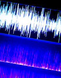 Sound recording studio audio. Wave on computer screen in professional editing program for voice, vocal, dj deejay musical mixing Royalty Free Stock Photo
