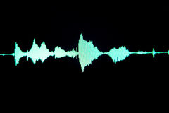 Sound recording studio audio. Wave on computer screen in professional editing program for voice, vocal, dj deejay musical mixing Royalty Free Stock Images