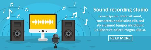 Sound recording studio banner horizontal concept. Flat illustration of sound recording studio banner horizontal vector concept for web design Stock Photo