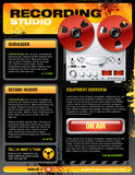 Sound recording studio brochure flyer vector Royalty Free Stock Images
