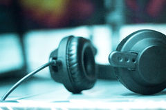 Sound recording studio headphones Stock Photo