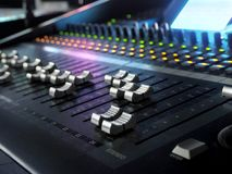 Sound Recording Studio Mixing Desk Closeup. Mixer Control Panel. Sound Recording Studio Mixing Desk Closeup. Music Mixer Control Panel With Colorful Lights. High royalty free stock photo