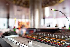 Control Fader. Mixing console of light equipment operator at the concert. Sound recording studio mixing desk with. Sound recording studio mixing desk with stock image