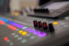 Sound recording studio mixing desk. Music mixer control panel.  royalty free stock photo