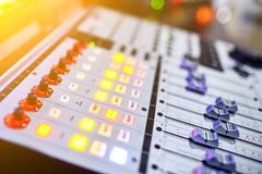 Sound recording studio mixing desk stock photo