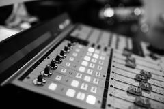 Sound recording studio mixing desk. Music mixer control panel royalty free stock images