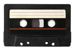 The sound recording tape is shown up close. The sound recording tape in the form of a compact cassette is shown on a white background Stock Photos