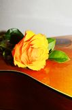 Sound and roses, symbols. Yellow rose on the strings of a guitar, evoking the beauty of music and love feelings Royalty Free Stock Photography