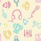 Sound seamless pattern. Seamless vector background of sound and musical doodle icons Royalty Free Stock Photography
