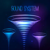Sound shining cones at cosmic background Royalty Free Stock Images