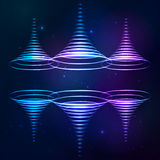Sound shining cones at cosmic background Stock Images
