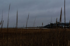 Sound side of North Wildwood NJ with fishing shacks and bay view Royalty Free Stock Photo