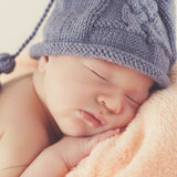 Sound sleep of the happy newborn child Royalty Free Stock Image