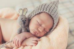 Sound sleep of the happy newborn child Royalty Free Stock Photos