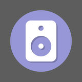 Sound speaker flat icon. Round colorful button, circular vector sign with shadow effect. Flat style design Royalty Free Stock Photos
