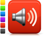 Sound speaker icon on square internet button Royalty Free Stock Photos