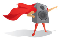 Sound speaker super hero proudly pointing Royalty Free Stock Image