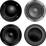Sound speakers. Set of four sound speakers Royalty Free Stock Photography