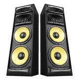 Sound speakers boxes. Power stereo sound system with yellow speakers isolated Royalty Free Stock Photography