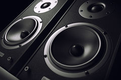 Sound speakers close-up. Audio stereo system. vector illustration