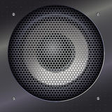 Sound speakers dynamics. Background with sound speakers dynamics and metal mesh. Background of polished metal with flare, patches of light. Audio speaker on a Royalty Free Stock Images
