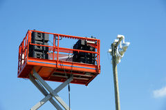 Sound speakers on lift platform Royalty Free Stock Photography