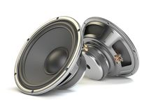 Sound speakers. Multimedia acoustic loudspeakers isolated on whi Stock Images