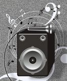 Sound speed. Flying musical notes ,loudspeaker,microphone,retro electronics illustration Royalty Free Stock Photos