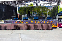 Sound Stage For Musical Band. Sound Stage With Instruments For Musical Band Stock Photo