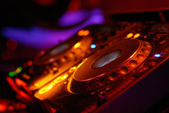 Sound station. Dj workstation in a club stock photography