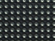 Sound and stereo: black speakers over leather pattern Stock Photography