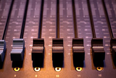 Sound studio adjusting record equipment Royalty Free Stock Photo