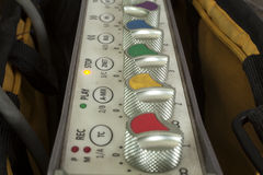 Sound studio adjusting record equipment. Stock Image