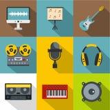 Sound studio icon set, flat style Stock Photography