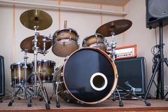 Sound studio room with drum kit. Stock Images