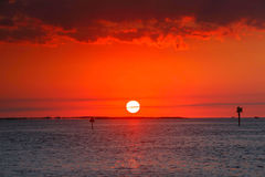 Sound Sunset Hatteras North Carolina Stock Images