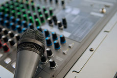 Sound system. An industrial sound system with close up microphone royalty free stock photos