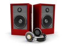 Sound system. 3d illustration of sound speakers and headphones over white background Stock Photo