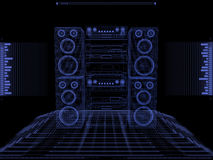 Sound system against black background Royalty Free Stock Photos