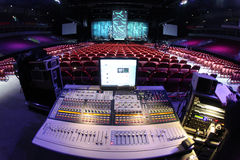 Sound system in concert. Sound system console in entertainment hall Royalty Free Stock Photo