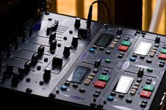 Sound system control panel. A close up view of the control panel for a sound system used by a disk jockey or DJ royalty free stock photo